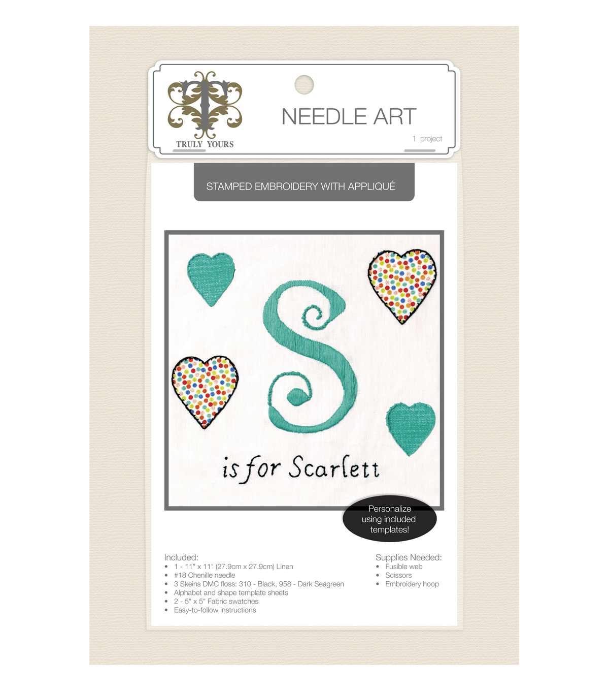 Truly Yours™ Needle Art Stamped Embroidery Kit- Name