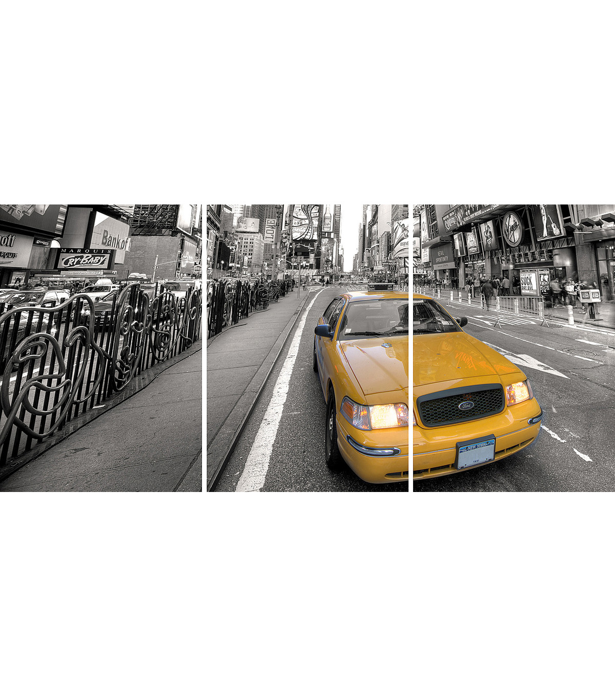 Home Decor Yellow Taxi Wall Decal, 3 Piece Set