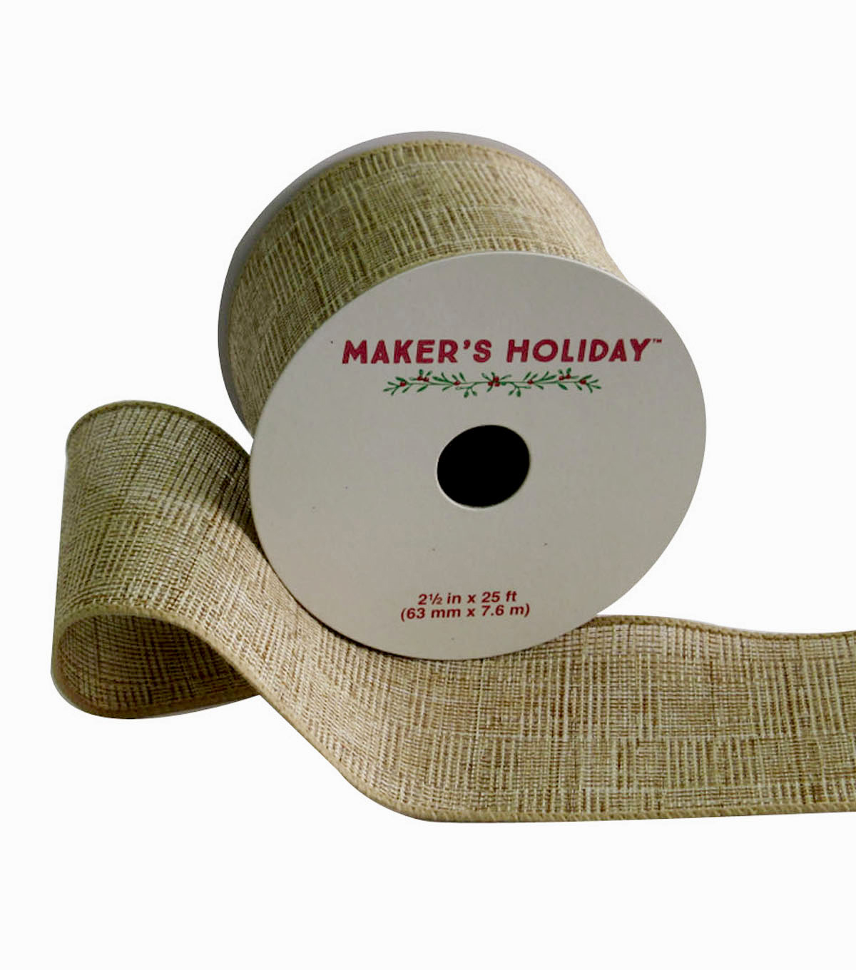 Maker\u0027s Holiday Woven Linen Wired Ribbon 2.5\u0027\u0027x25\u0027