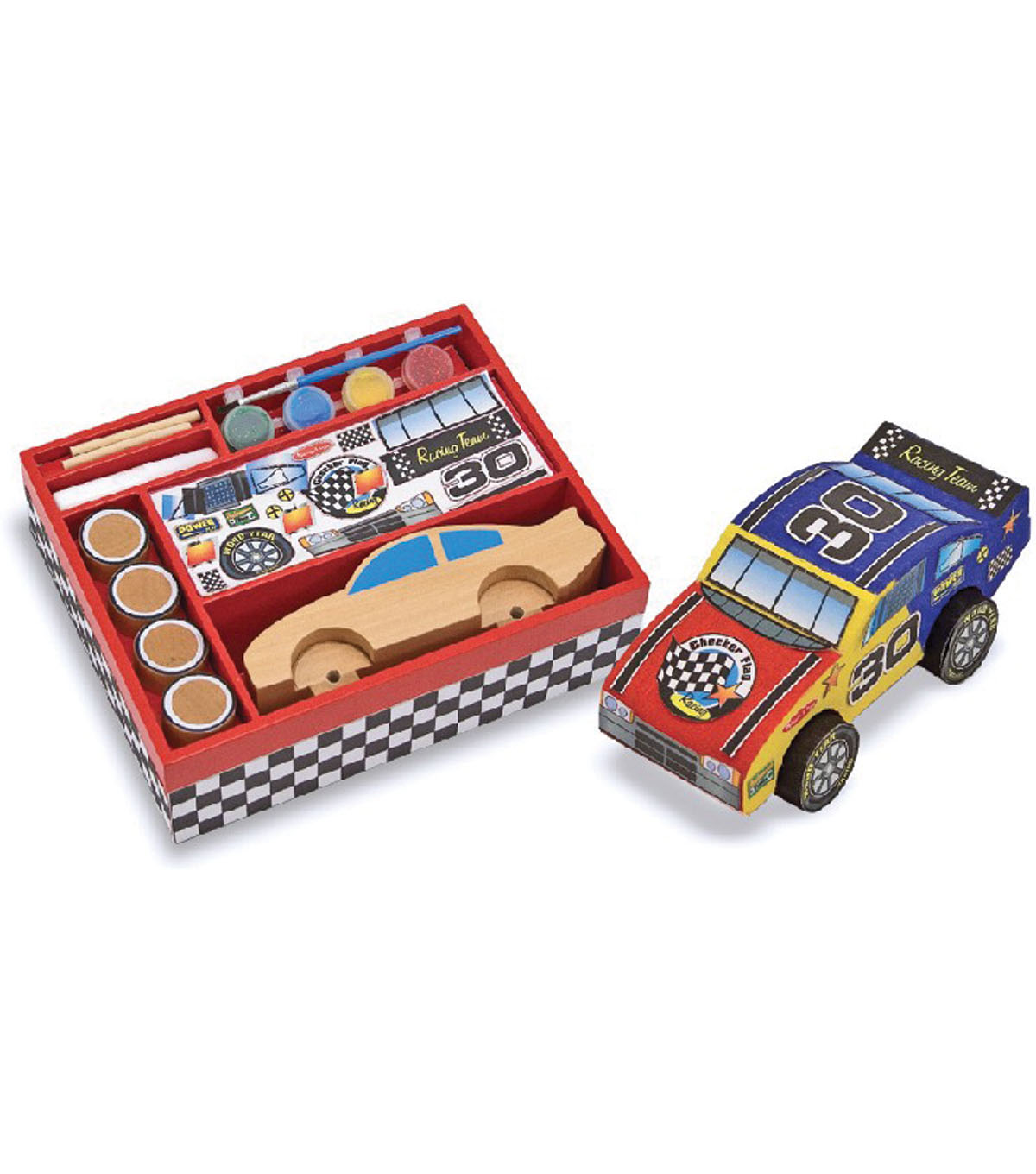 Melissa & Doug Decorate-Your-Own Wooden Race Car-