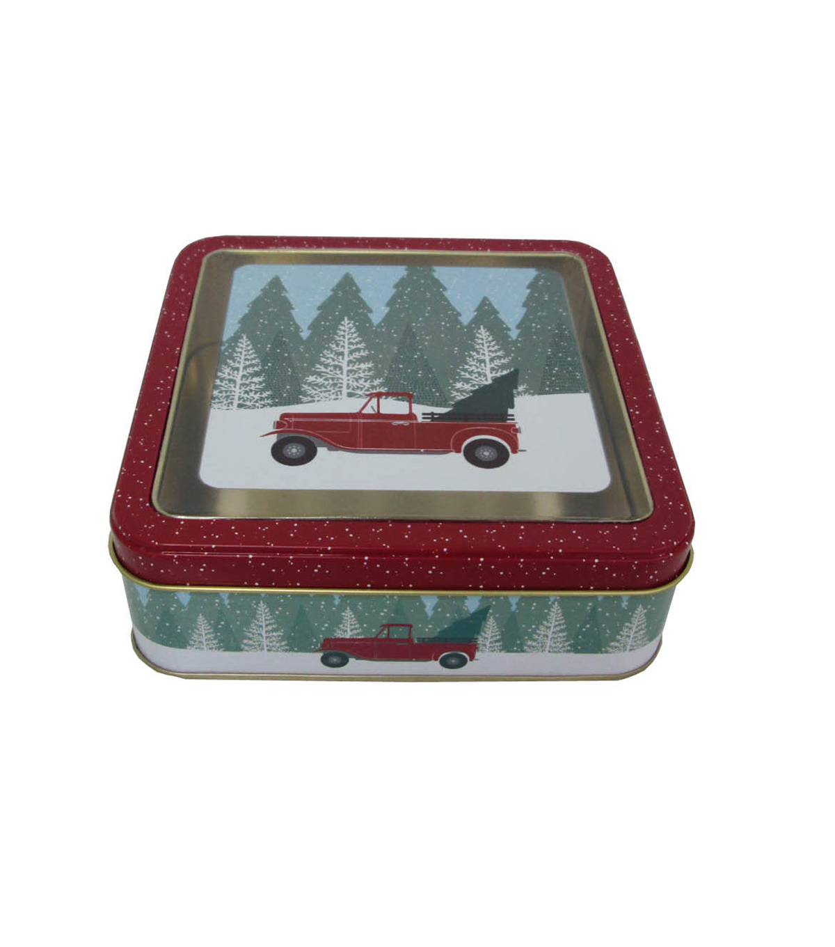 Maker\u0027s Holiday Christmas Small Square Clear Top Cookie Tin-Truck