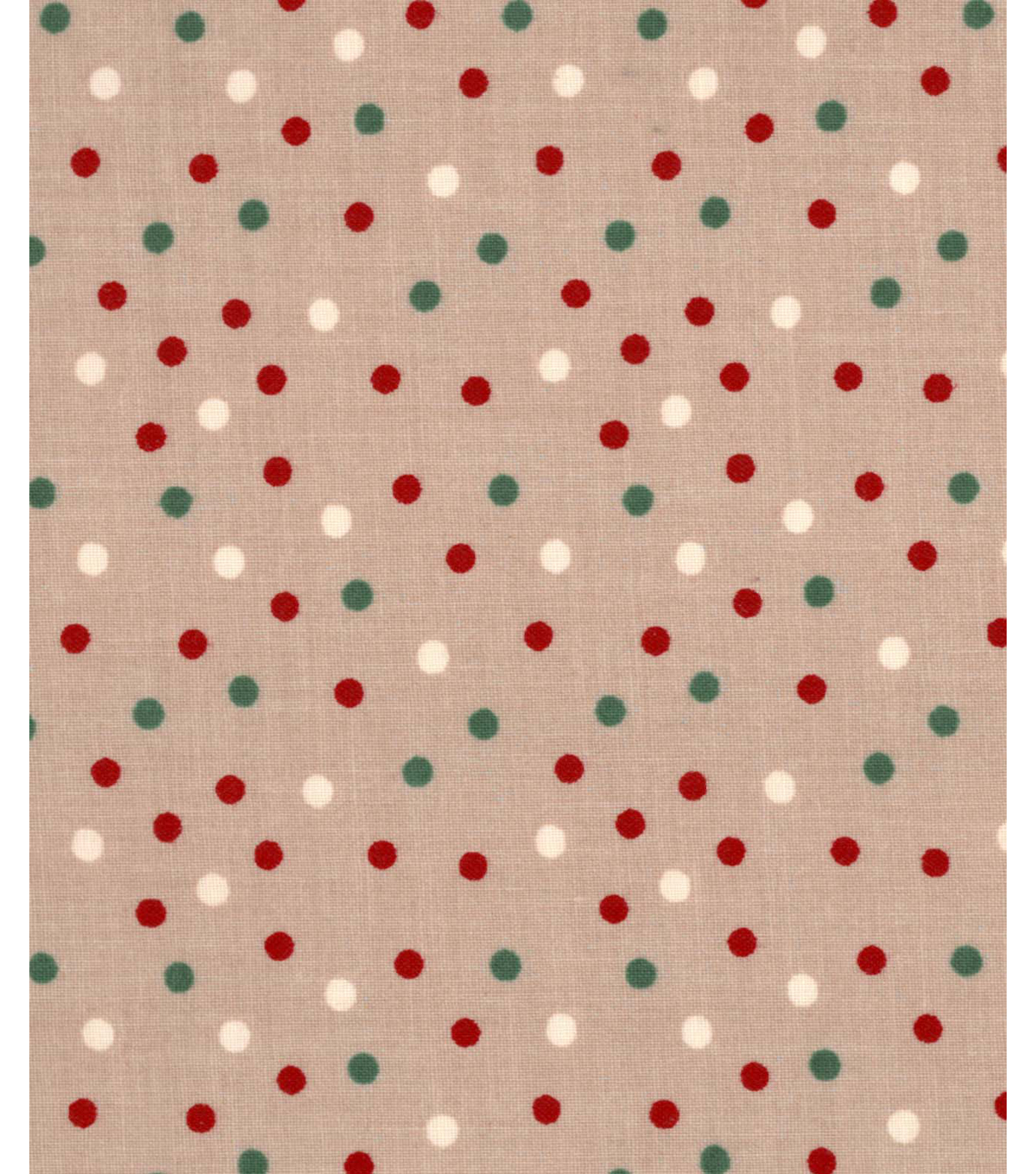 Christmas Cotton Fabric 43''-Holiday Dots on Beige