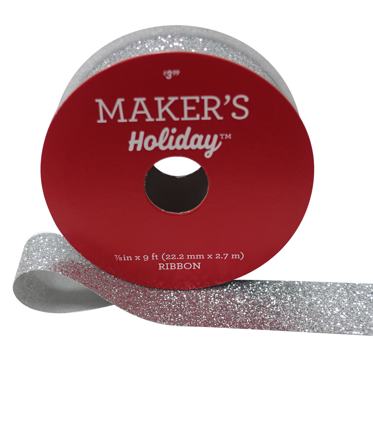 Maker's Holiday Christmas Glitter Ribbon 7/8''x9'-Silver