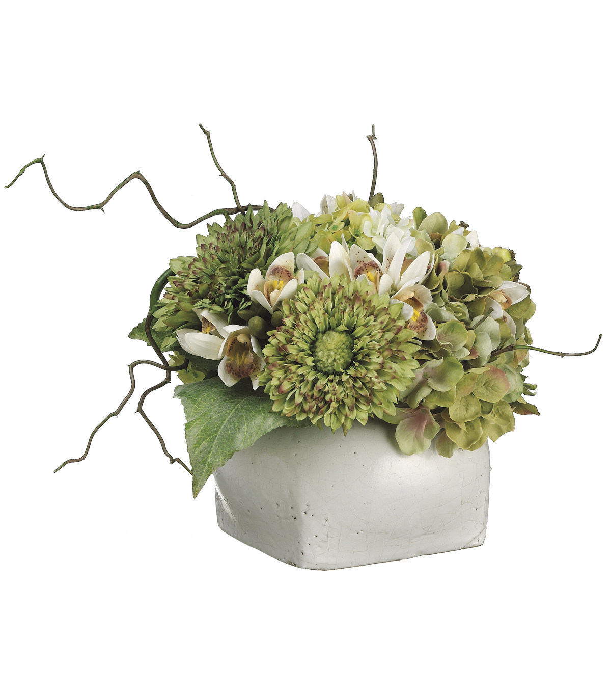 Bloom Room Luxe 12\u0027\u0027 Sunflower, Hydrangea, Cymbidium Orchid In Pot-Green