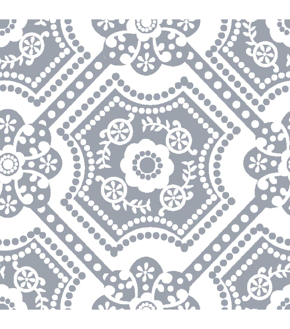 Anti-Pill Fleece Fabric 59\u0022-Silver Dot Medallion