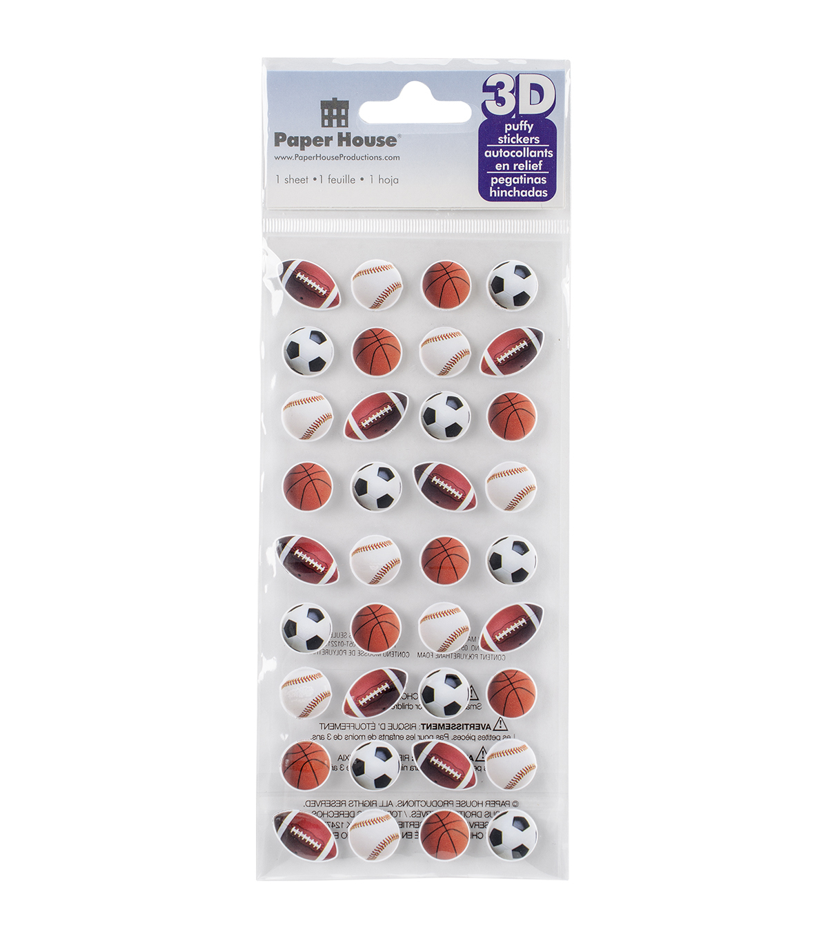 Paper House® Puffy Stickers-Mini Mixed Sports Balls