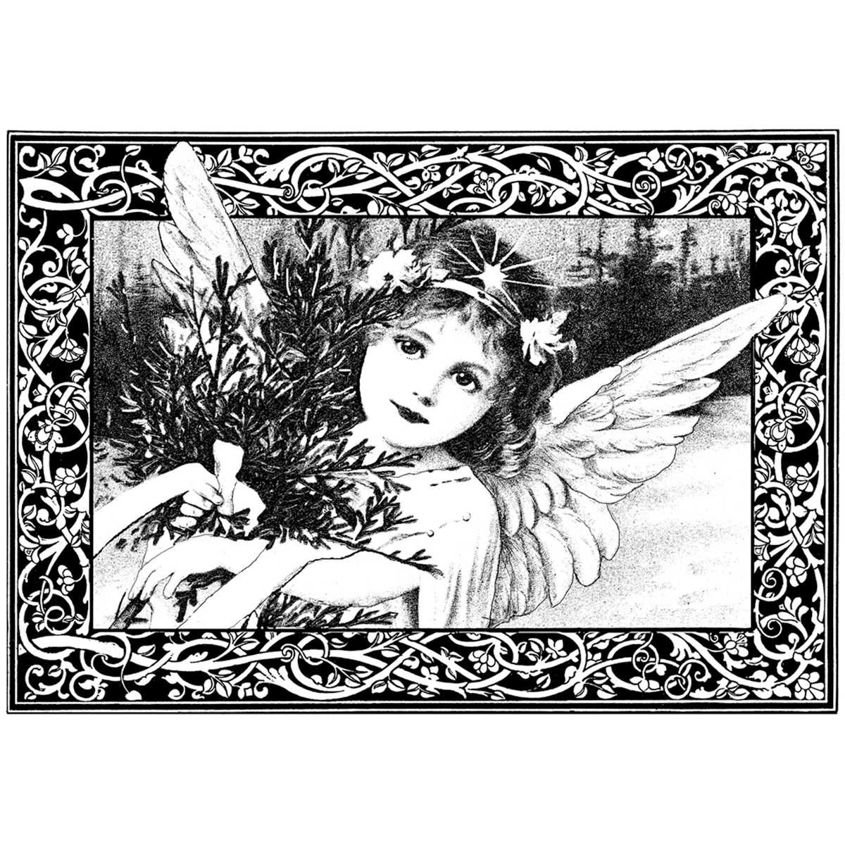 Xmas Angel-unmounted Rubber Stp