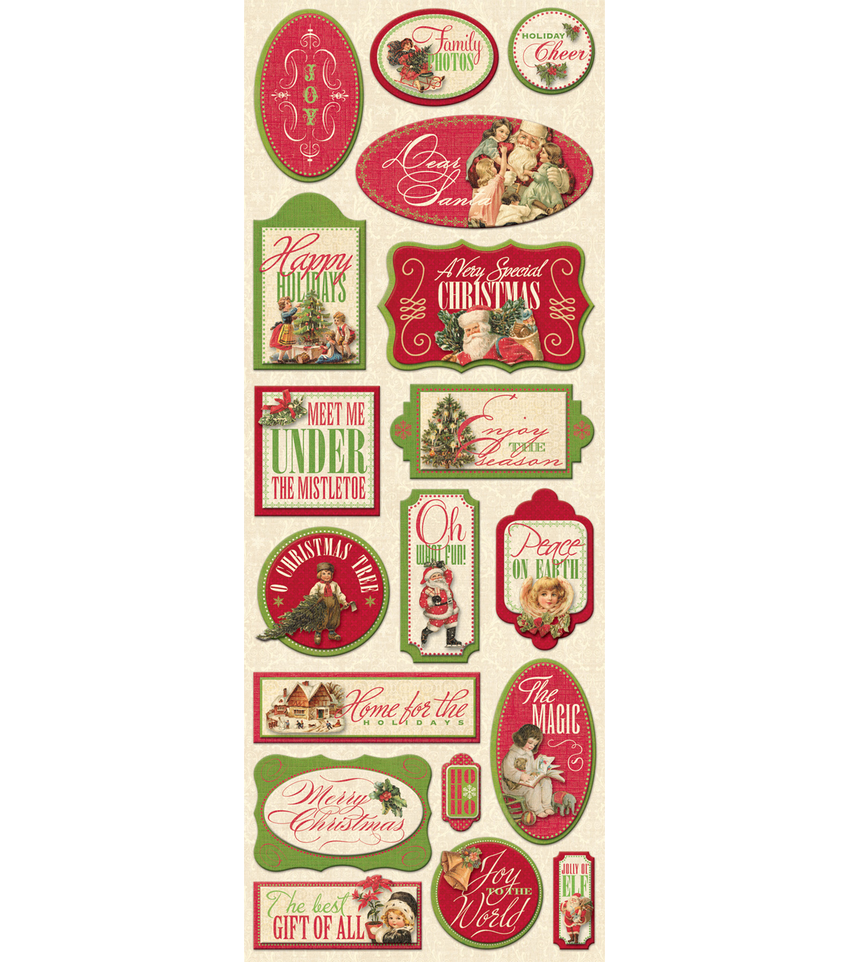 K&Company 18 pk Adhesive Chipboard Stickers-Yuletide Words/Images