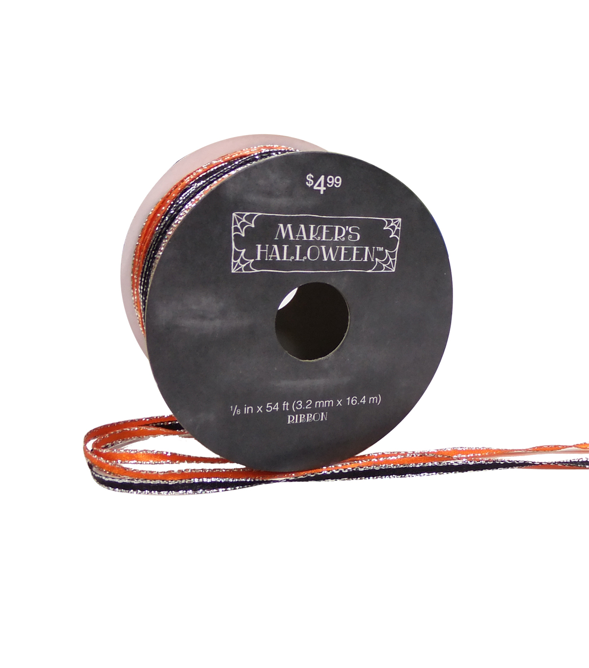 Maker\u0027s Halloween Cord Ribbon 1/8\u0027\u0027x54\u0027-Orange & Black