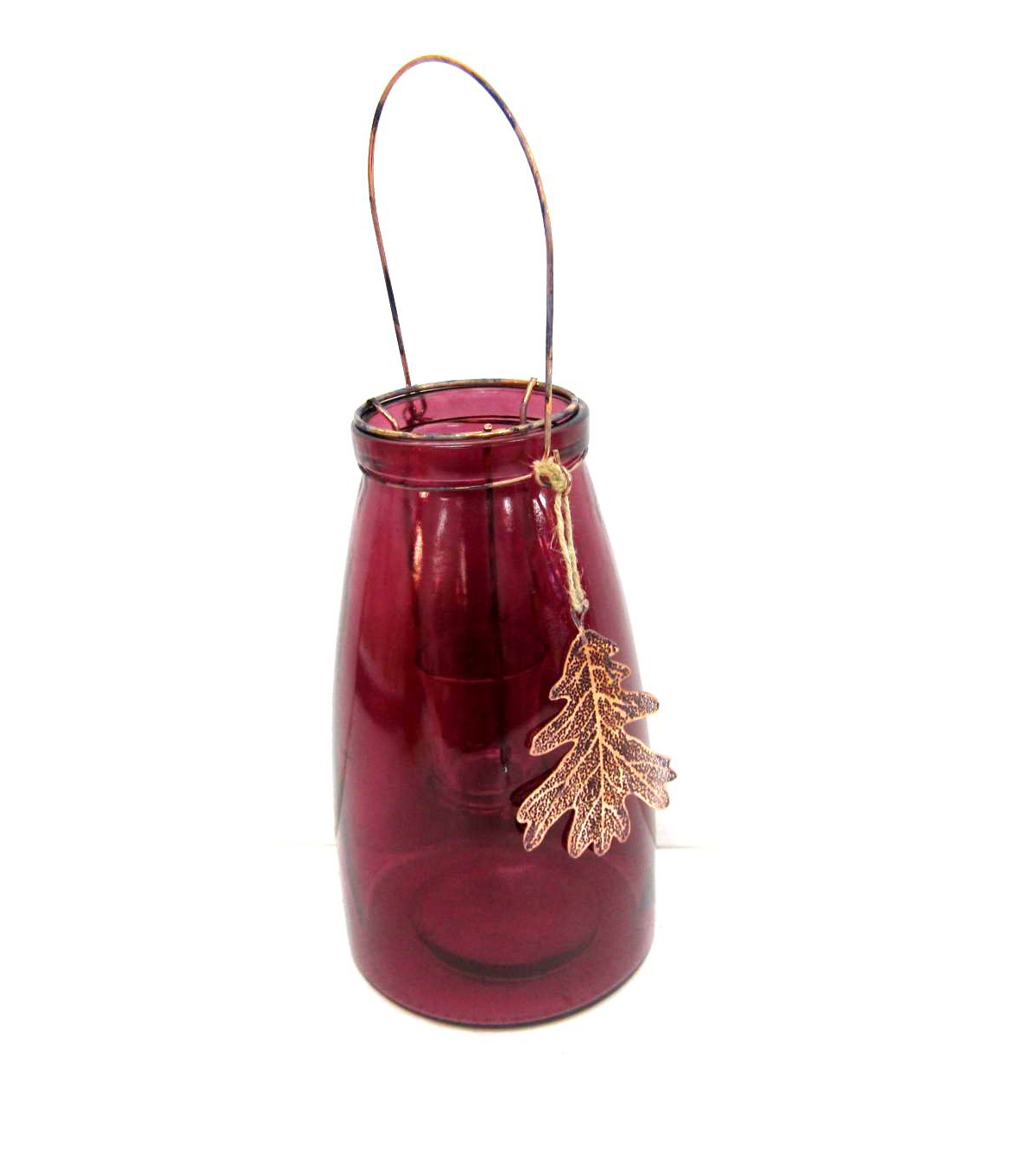 Fall Into Color Glass Candle Jar with Leaf-Red