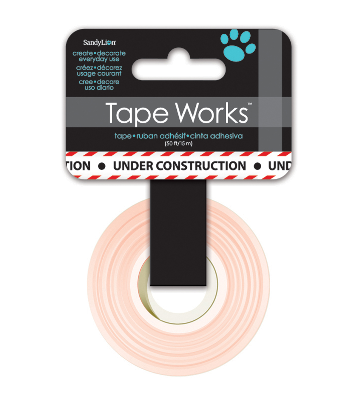 Tape Works Tape .625\u0022X50\u0027-Under Construction Black and Red