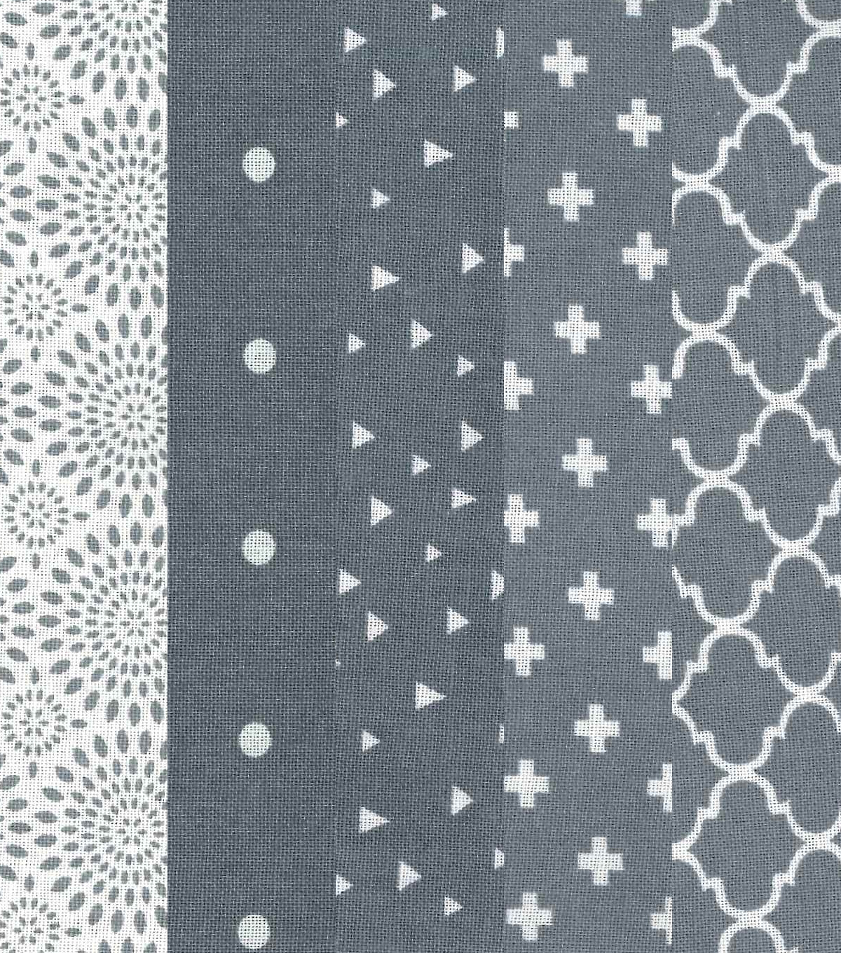 Charm Pack Cotton Fabric 30 Strips 5\u0027\u0027-Assorted Gray Patterns