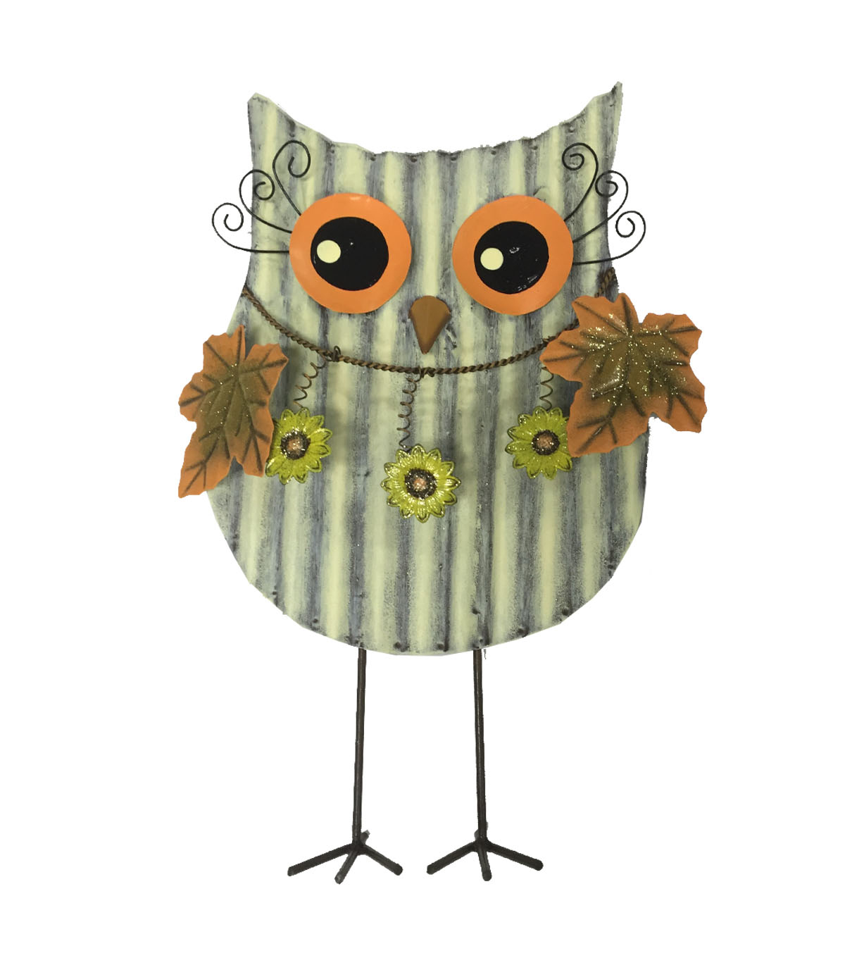 Fall Into Color Metal Standing Owl Porch Sitter