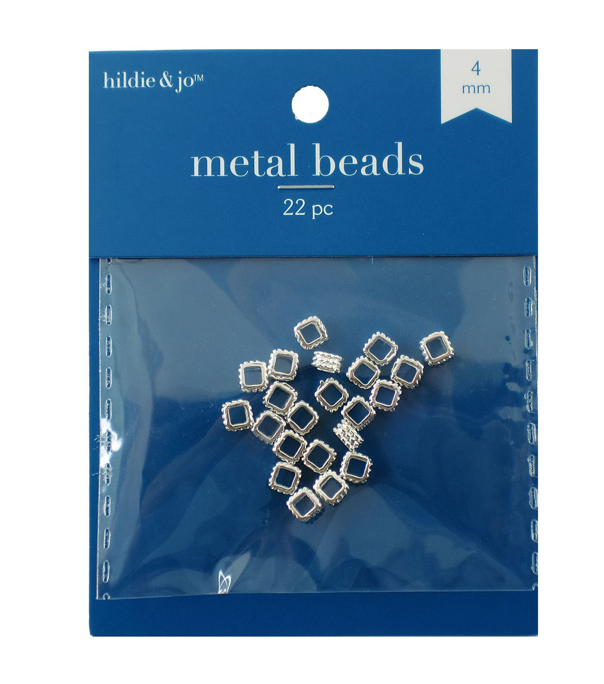 4mm Square Shaped Cast Metal Spacer Beads
