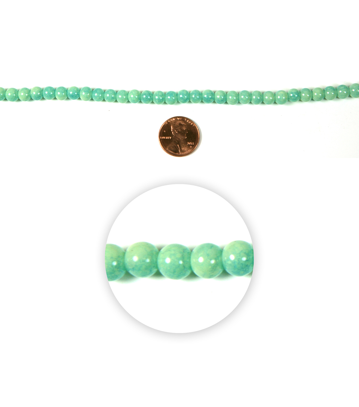 Blue Moon Strung Glass Beads,Round,Mint Green,Marbeled