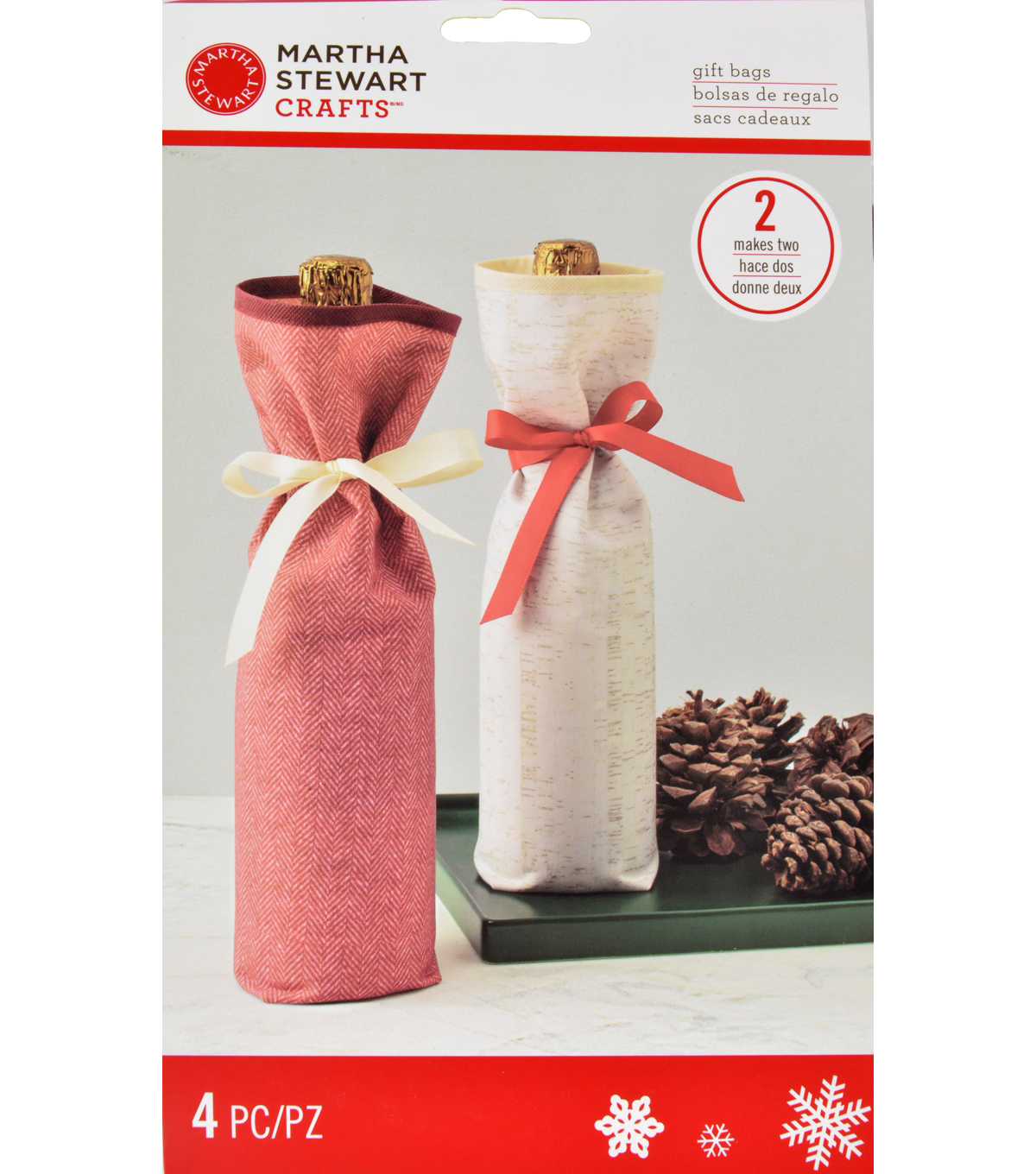 Martha Stewart Crafts Holiday Lodge Fabric Wine Bags