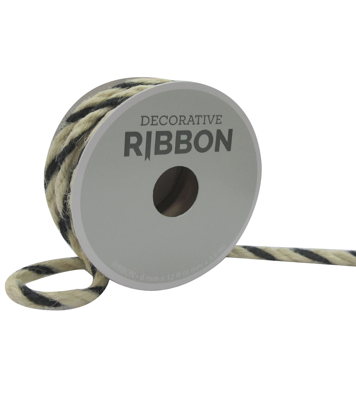 Decorative Ribbon 6mmx12\u0027 Narrow Cord-Ivory & Black