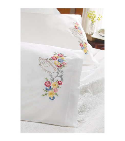 Bucilla Stamped Embroidery Pillowcase Pair Praying Hands