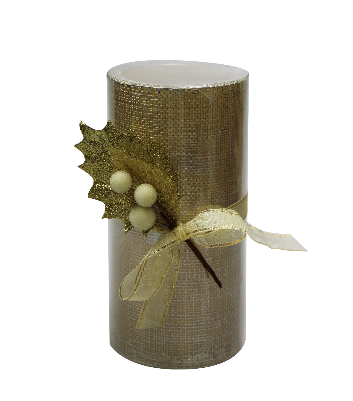 Maker\u0027s Holiday 3\u0027\u0027x6\u0027\u0027 LED Candle-Gold Burlap with Holly