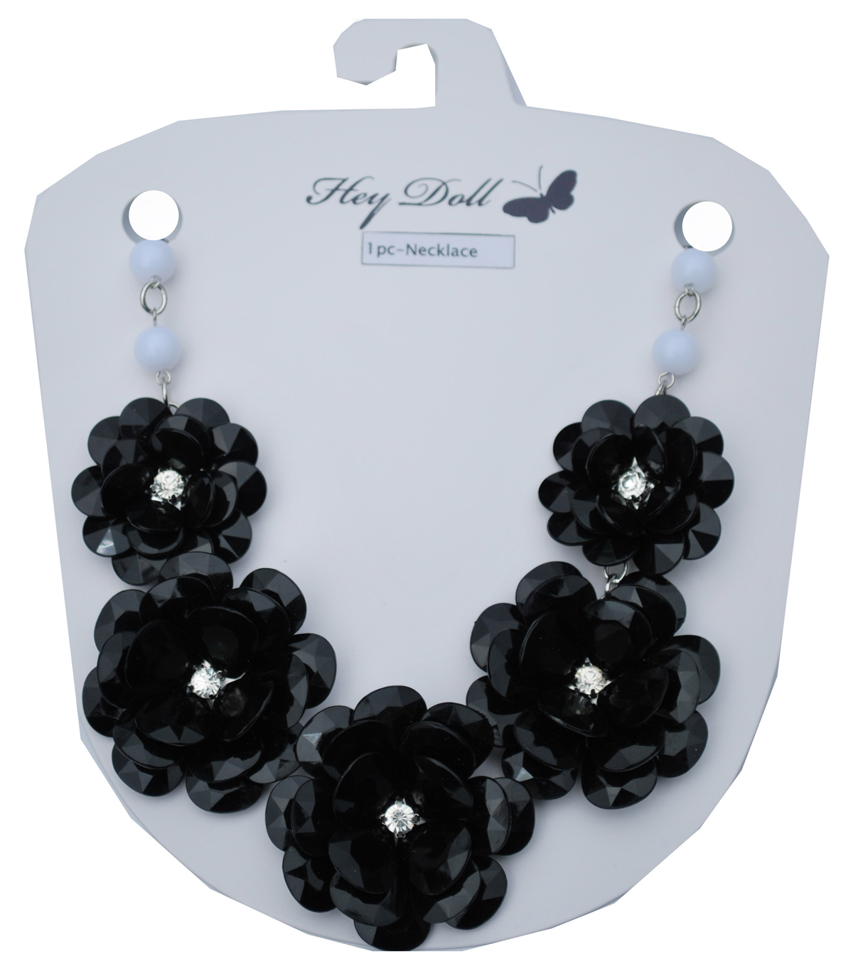 Hey Doll Rosette Black and White Statement Necklace