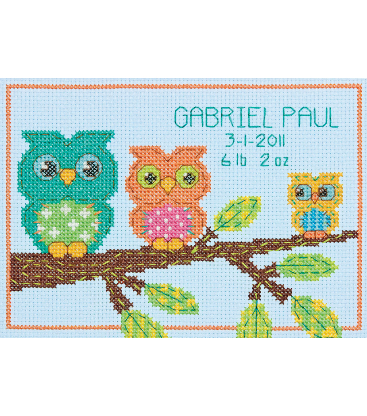 Owl Birth Record Mini Counted Cross Stitch Kit-7\u0022X5\u0022 14 Count