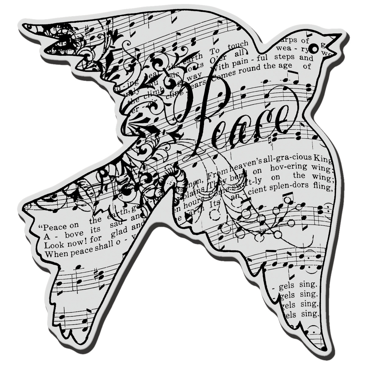 Dove Music-cling Rubber Stamp