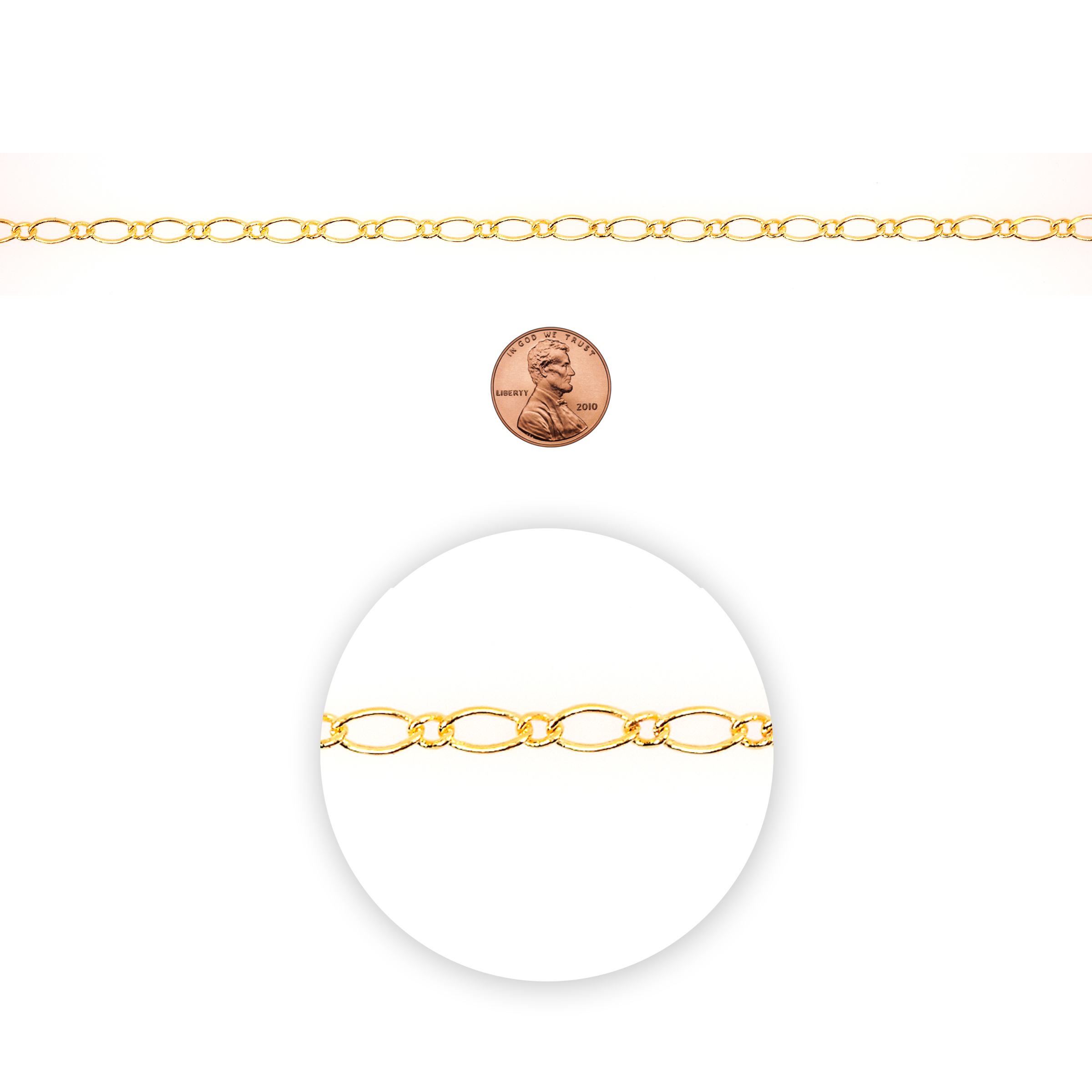 Blue Moon Beads Chain, Figaro, Gold,