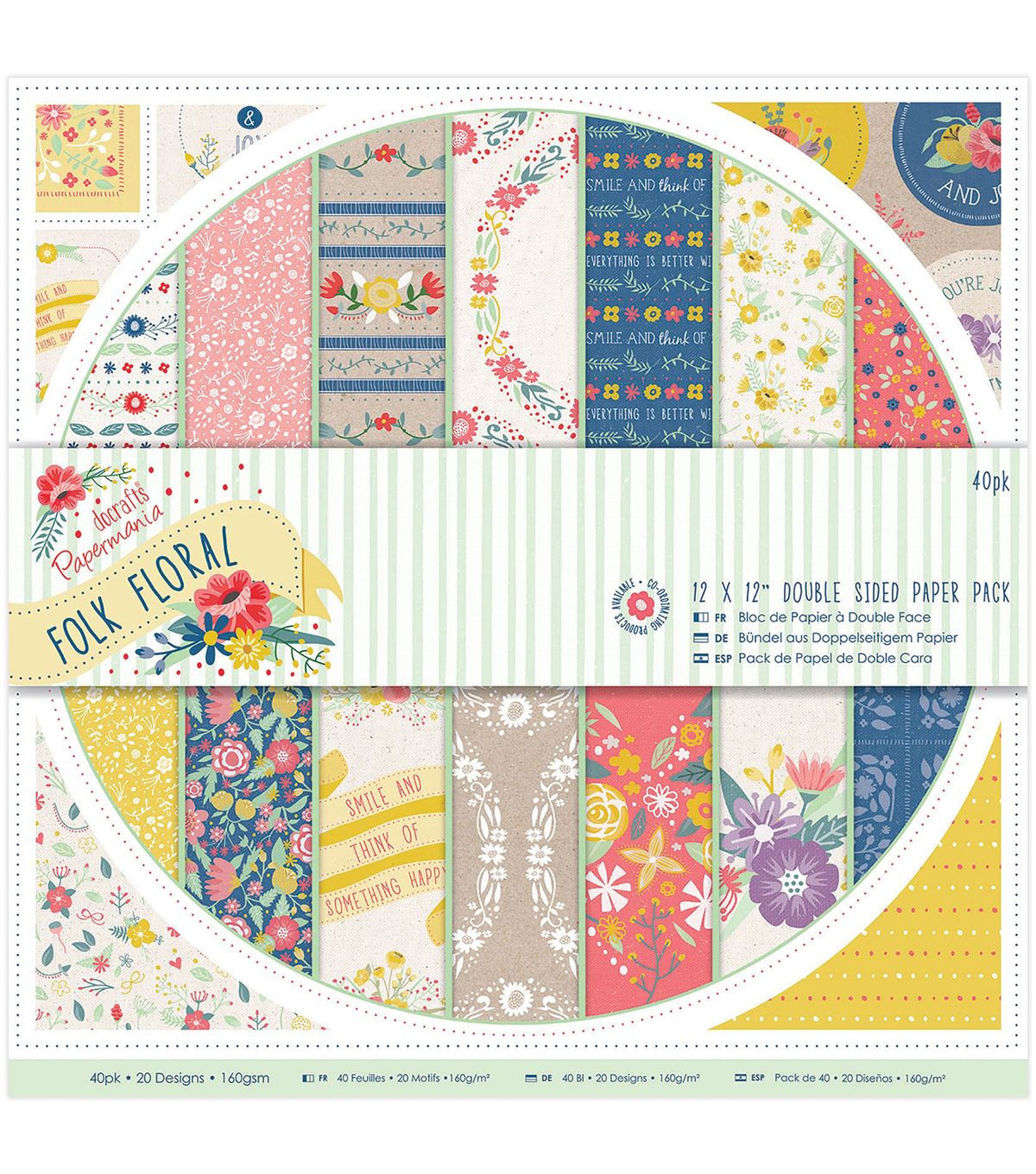 Papermania Folk Floral 12''X12'' Double-Sided Paper Pack