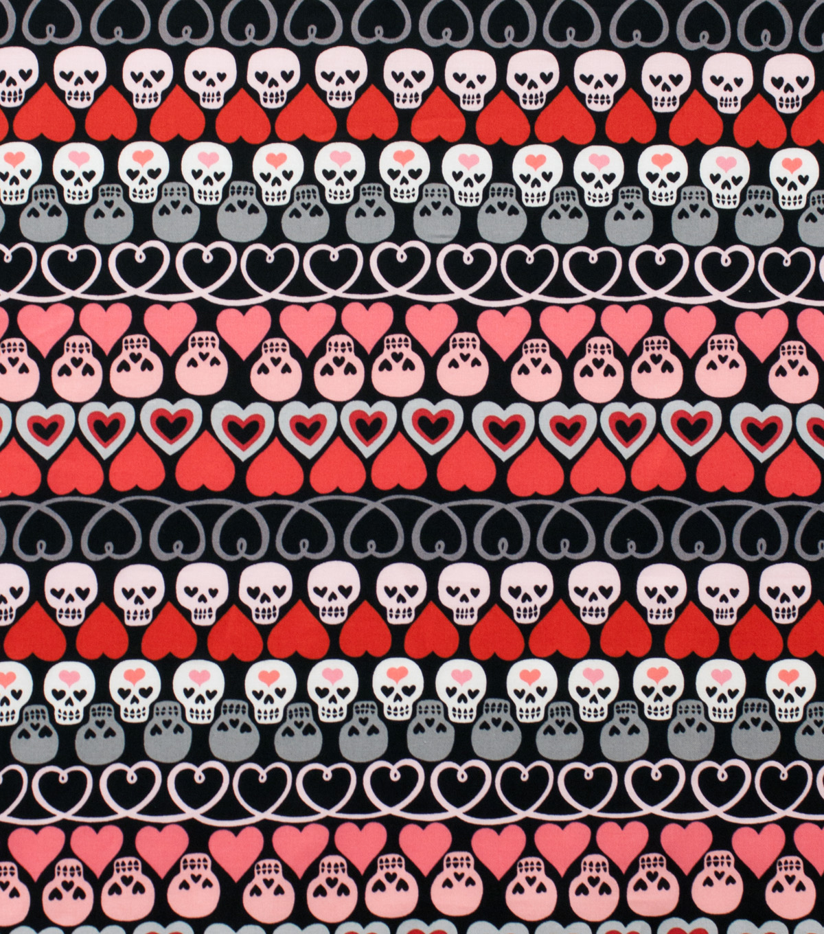 Alexander Henry Cotton Fabric 44\u0022-Hearts and Bones Black