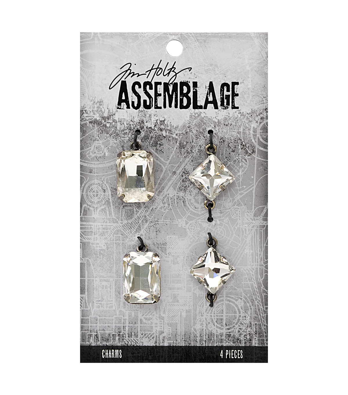 Tim Holtz® Assemblage Pack of 4 Faceted Gems Charms