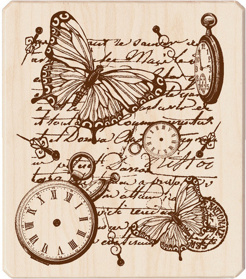 Inkadinkado® Rubber Stamp-Time Flies Collage