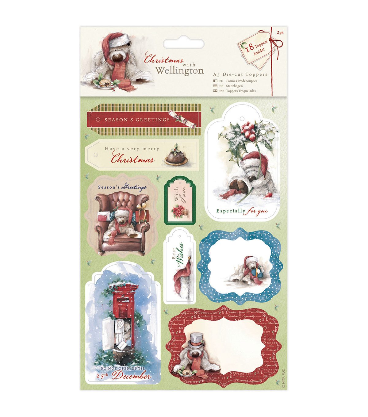 Docrafts Christmas With Wellington A5 Die-Cut Toppers