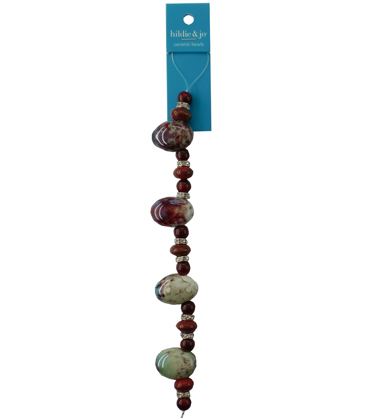 hildie & jo™ 7\u0027\u0027 Beads Strand with Silver Spacer Beads-Dark Red