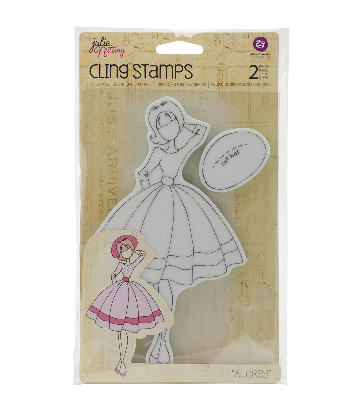 Julie Nutting Mixed Media Cling Rubber Stamps-Audrey 3.5\u0022X8.75\u0022