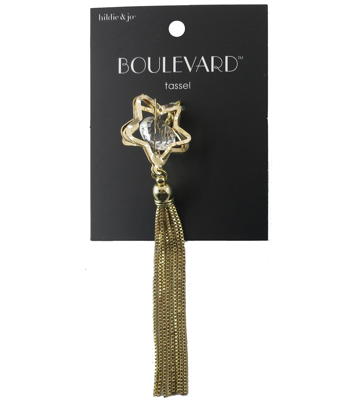 hildie & jo™ Open Star with Chain Gold Tassel-Clear Crystal