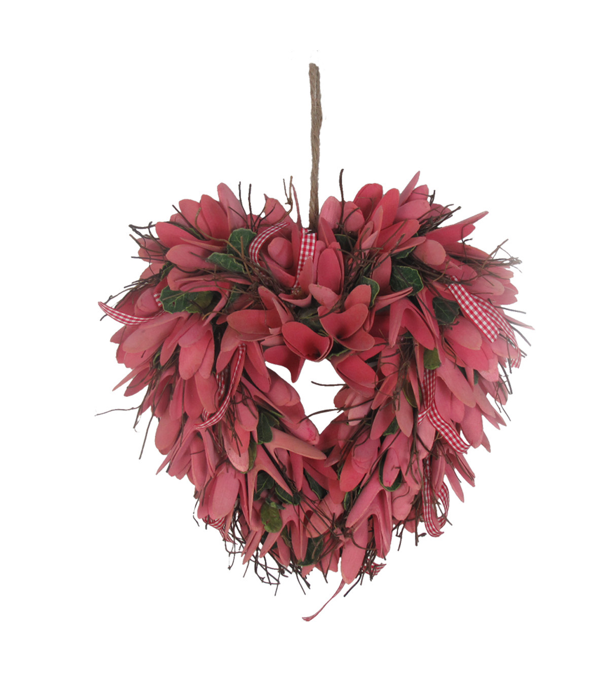 valentines day wood chip heart wreath pink