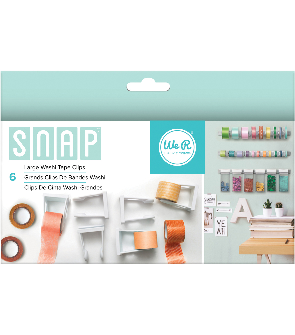 We R Memory Keepers™ Snap Storage 6ct Large Washi Tape Clips