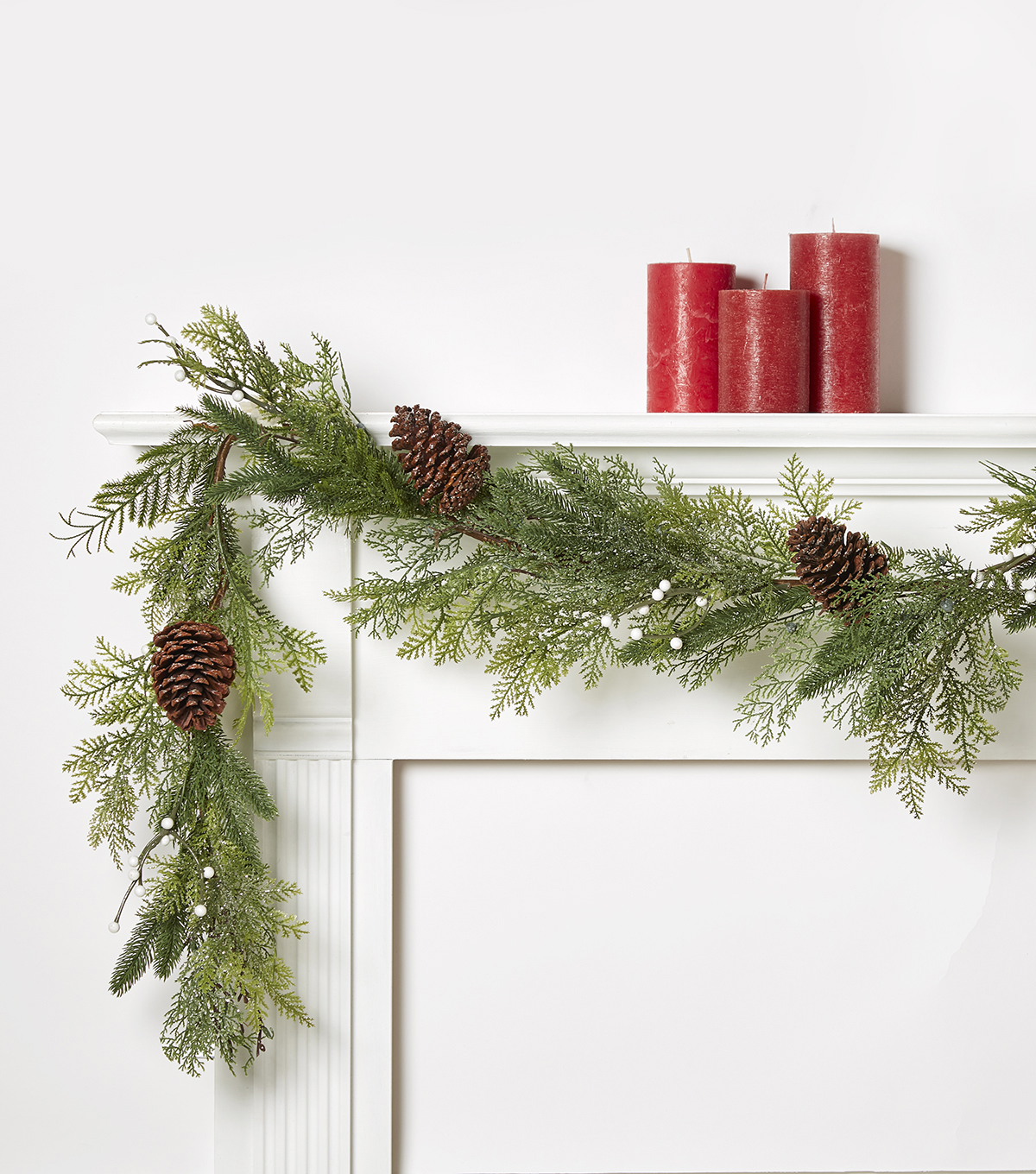Blooming Holiday 66'' Berry & Pinecone Frosted Garland-White