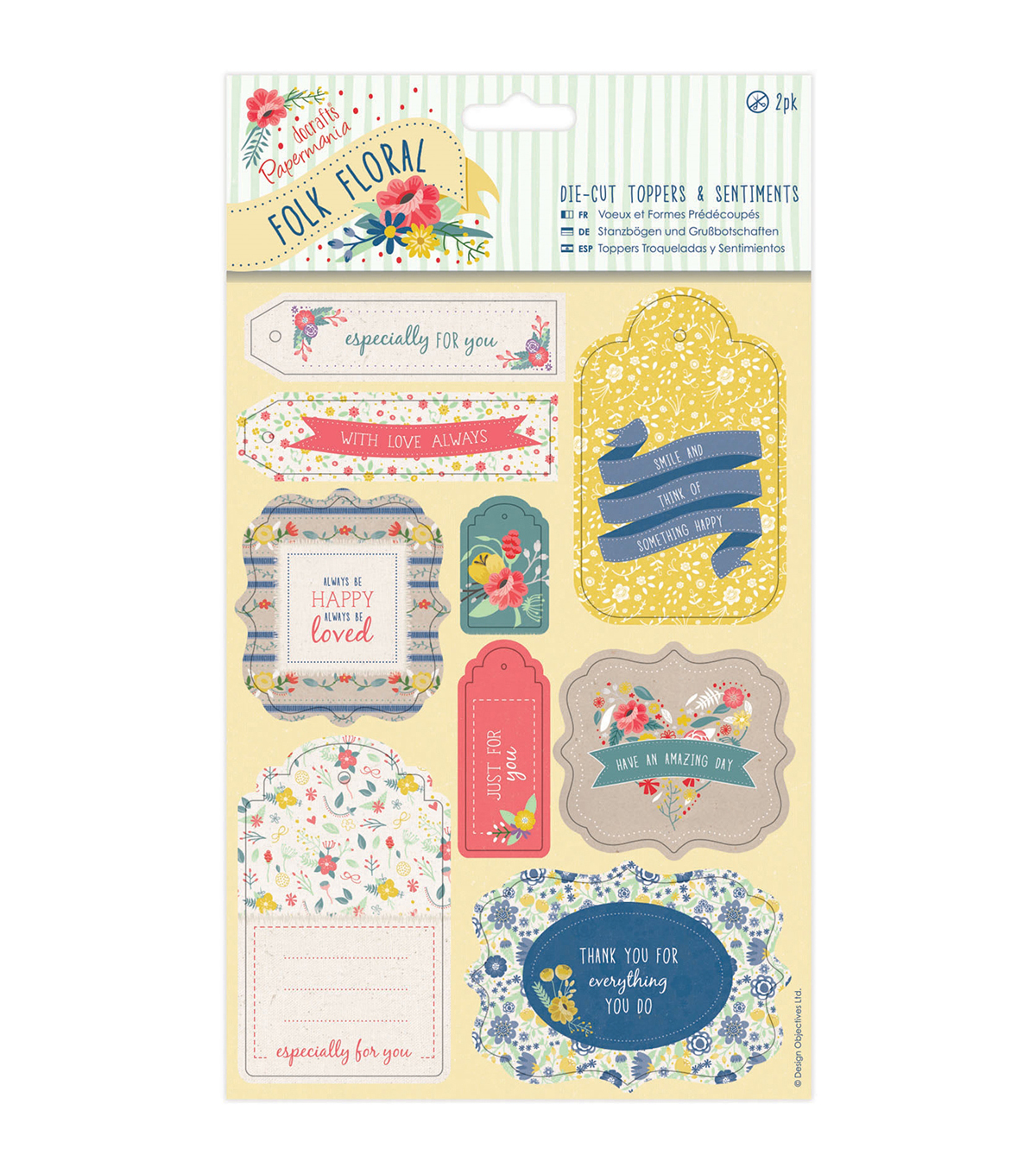 Papermania Folk Floral 2ct Die-Cut Toppers & Sentiments