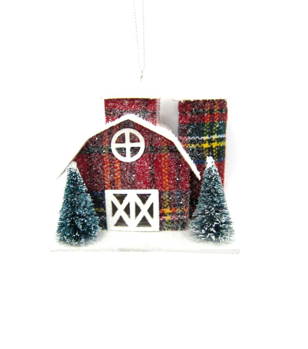Maker\u0027s Holiday Plaid Paper Barn Ornament