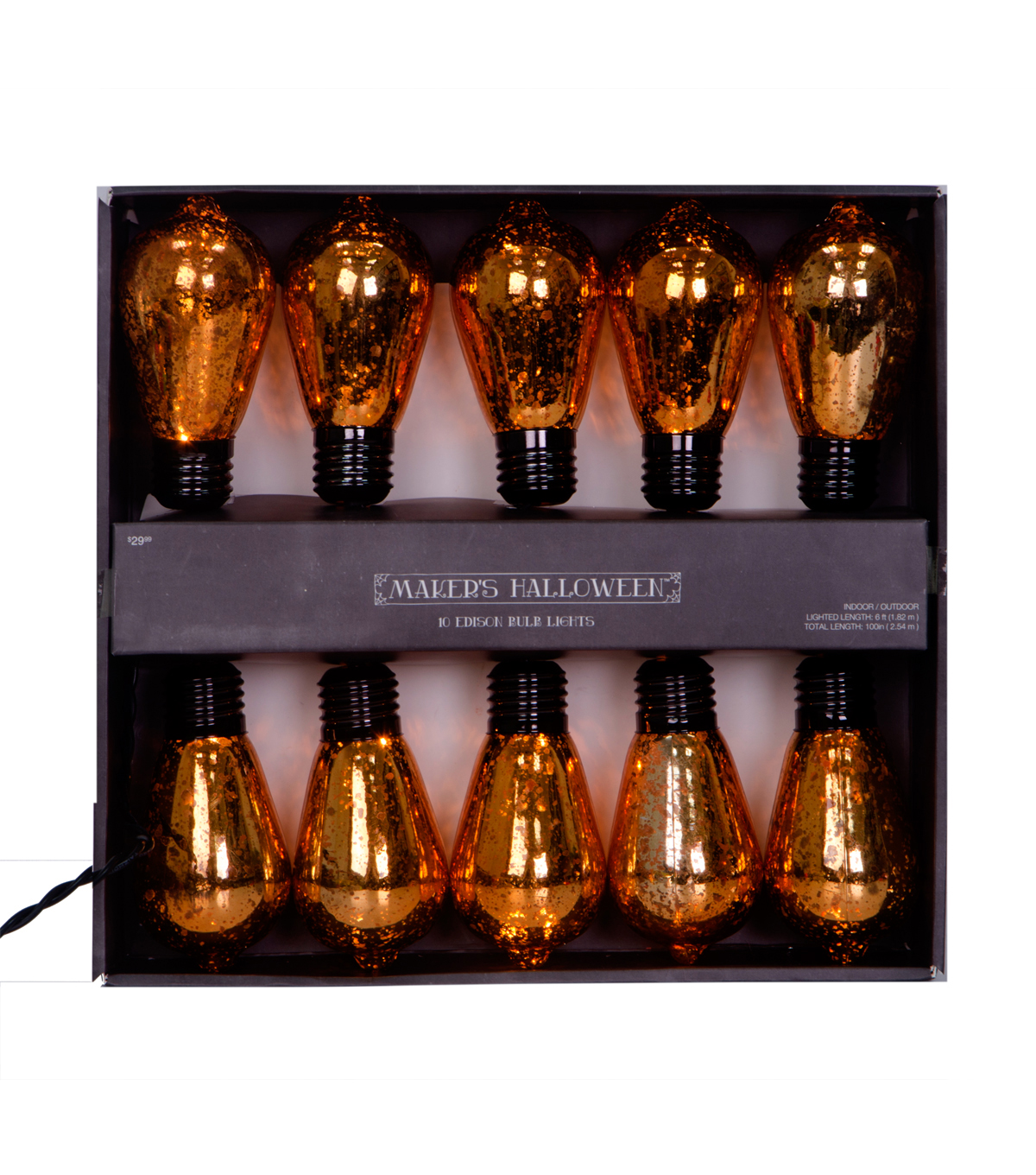 Maker\u0027s Halloween 10 Count Edison Bulb String Lights-Orange