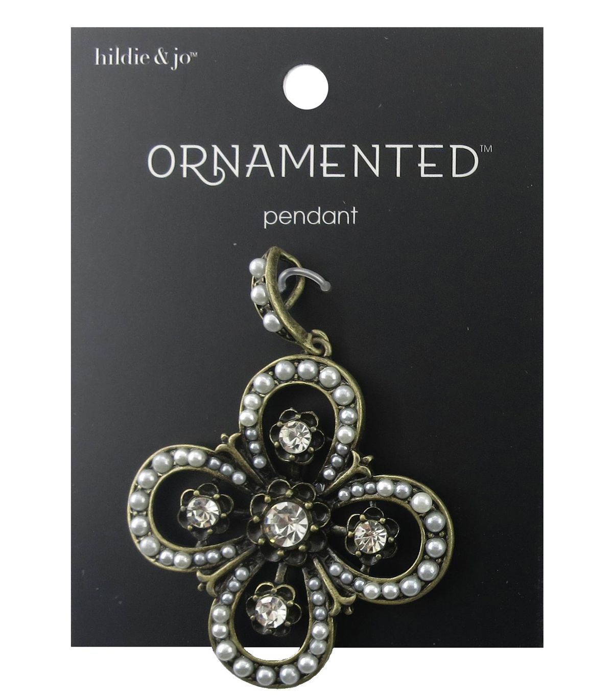 hildie & jo™ Ornamented Antique Gold Cross Pendant-Pearl & Crystal
