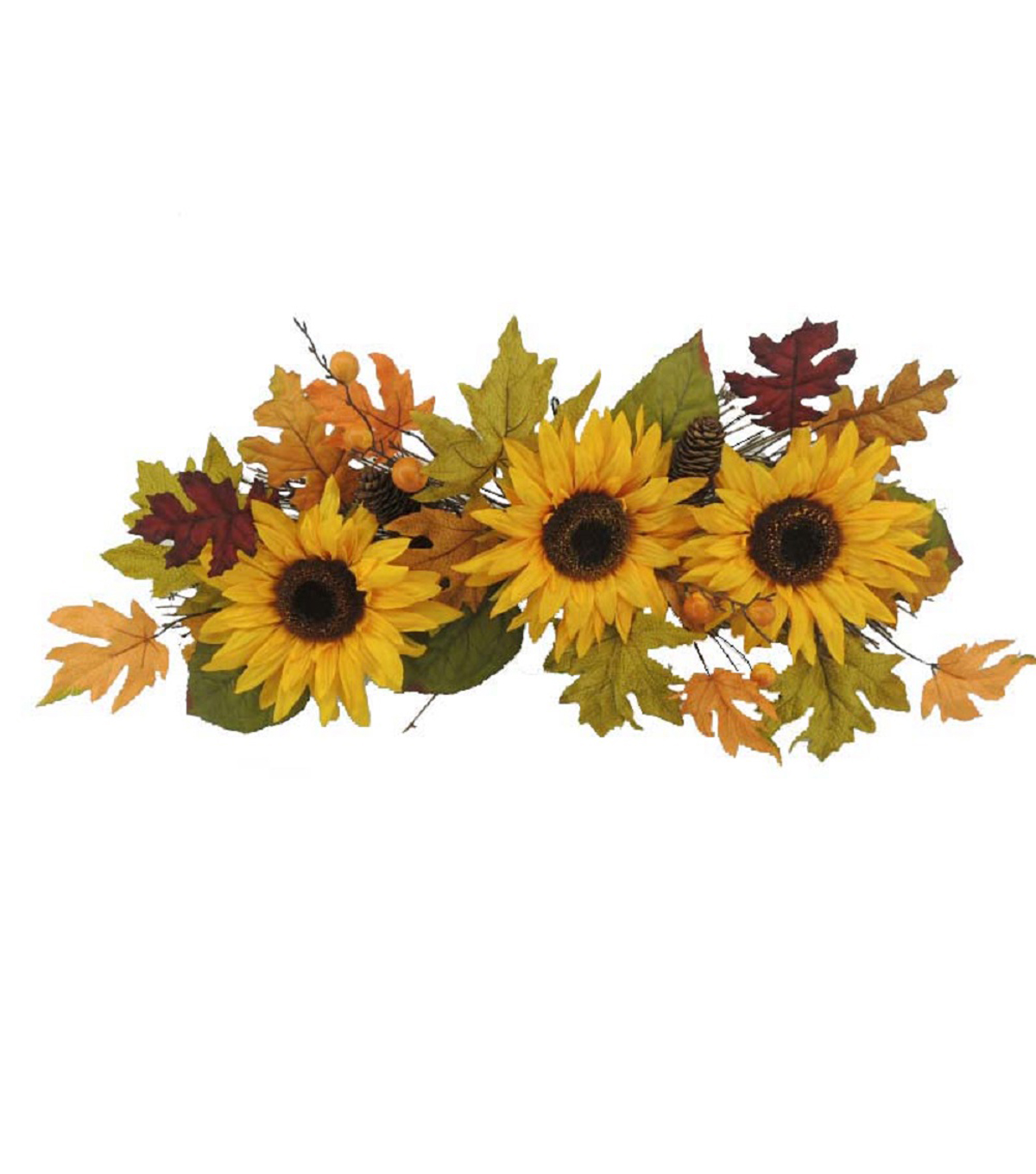 Blooming Autumn 24\u0027\u0027 Sunflower & Pinecone Swag-Yellow