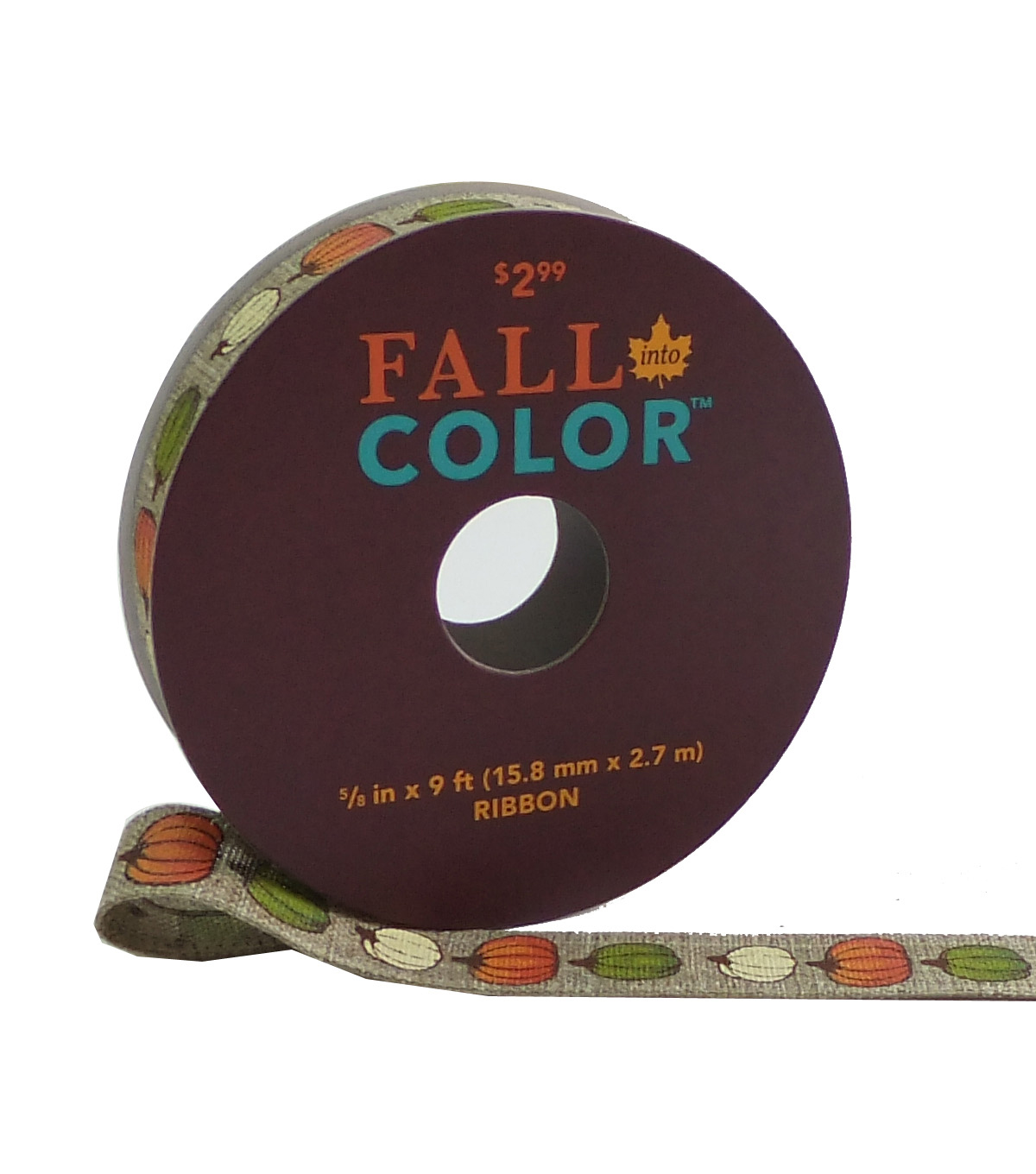 Fall Into Color Ribbon 5/8\u0027\u0027x9\u0027-Ivory, Orange & Green Pumpkin