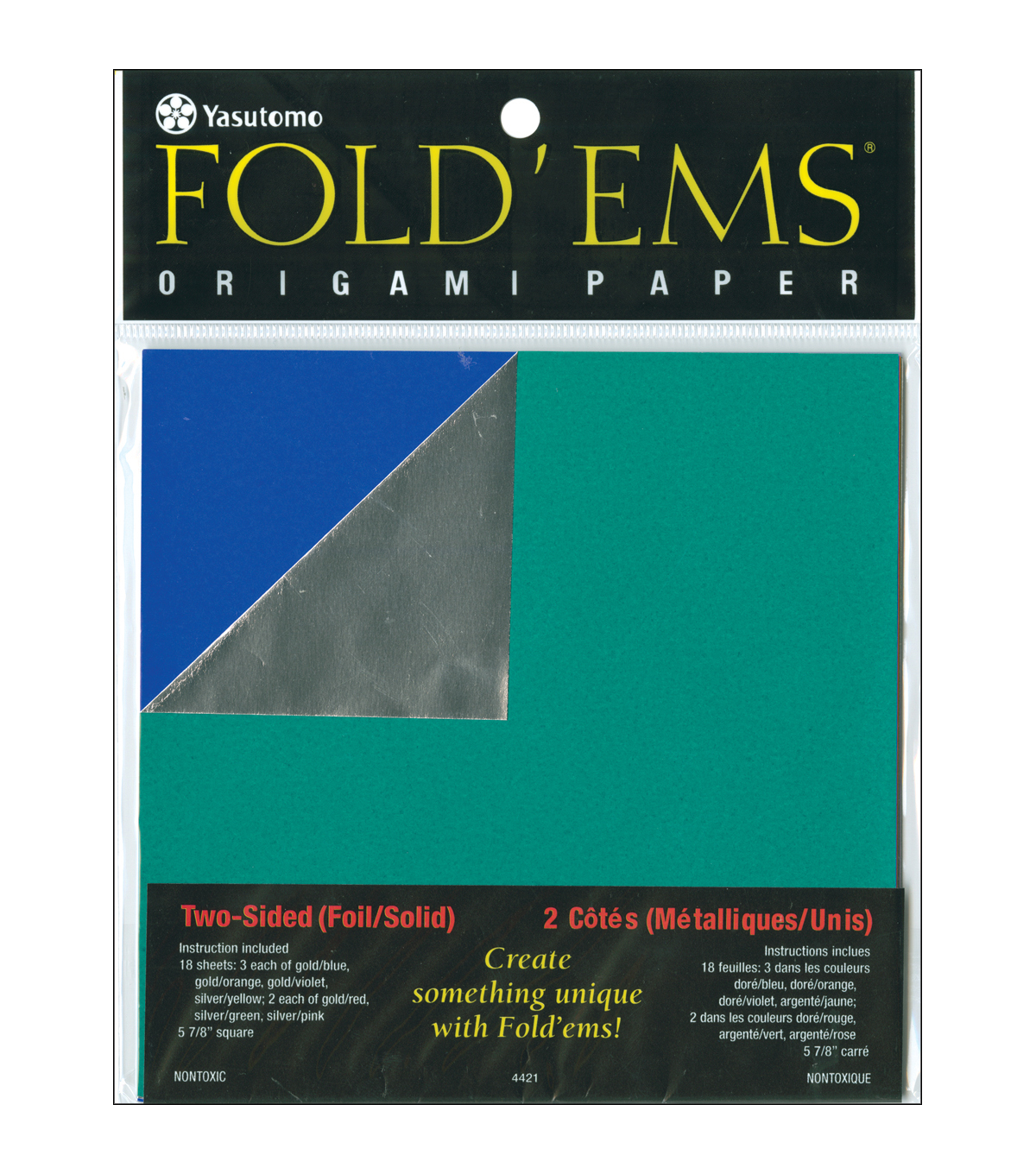 "Fold 'ems Origami Double-Sided Foil/Solid Paper 5.875"" 18/Pk-"