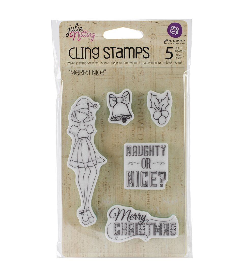 Julie Nutting Mixed Media Cling Rubber Stamps-Merry Nice .75\u0022X1.25\u0022 To 1.25\u0022X4.25\u0022