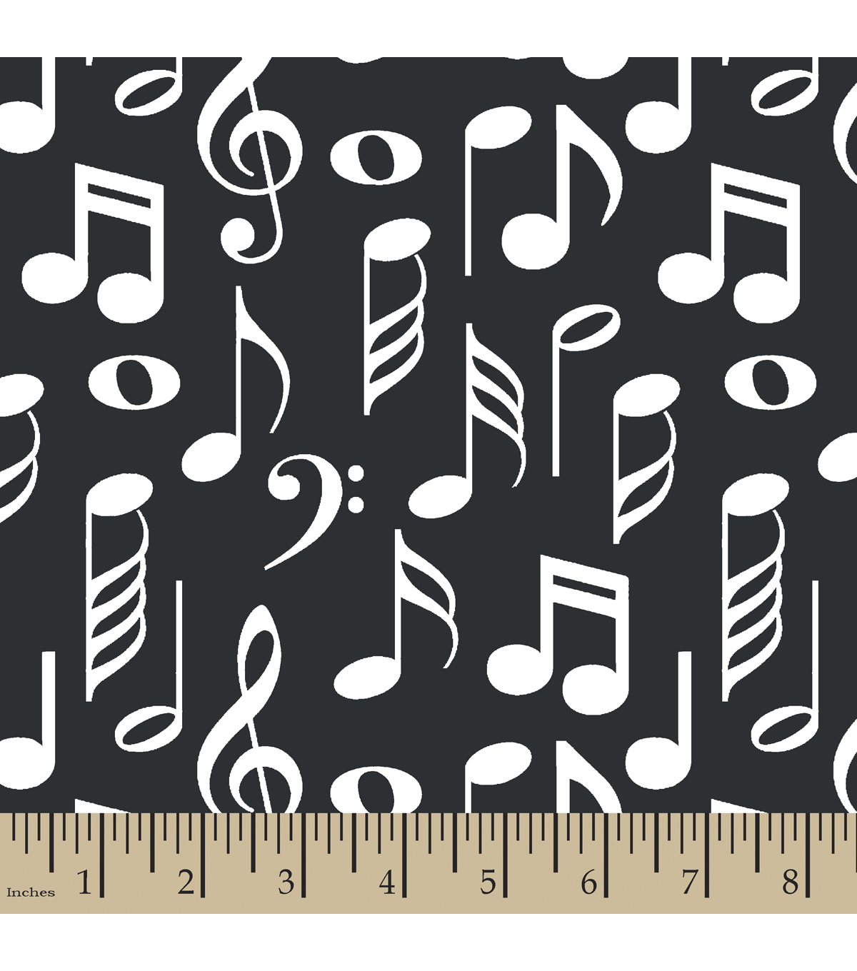 Snuggle Flannel Fabric 42\u0022-Music Notes Black