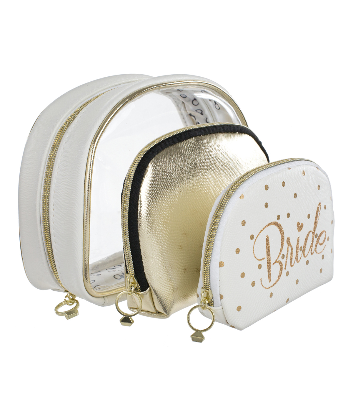 Save The Date™ 3 Pack Ruffle Cosmetic Bags-Bride