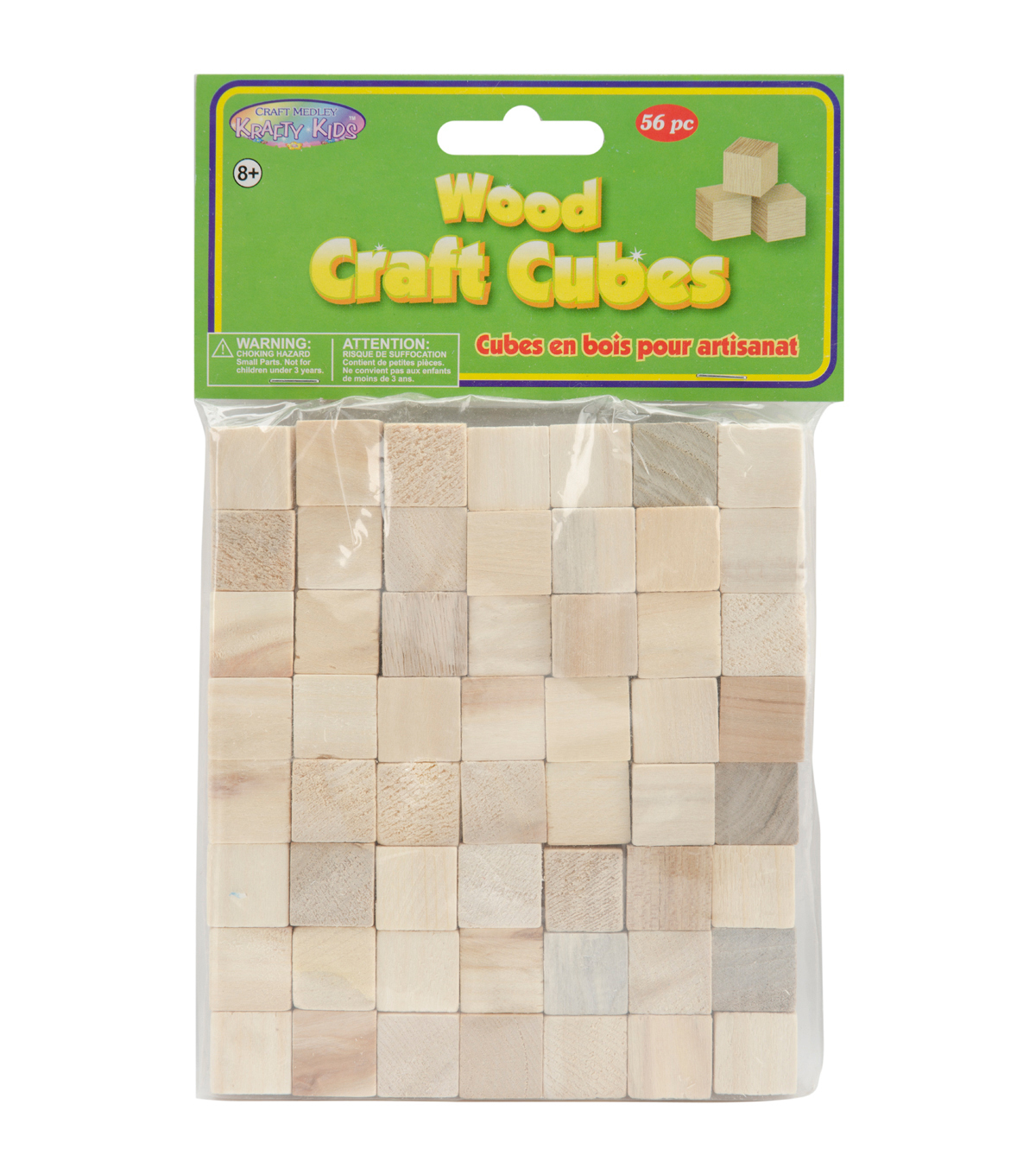 Craftwood Wooden Cubes 5/8\u0022 36/Pkg-Natural