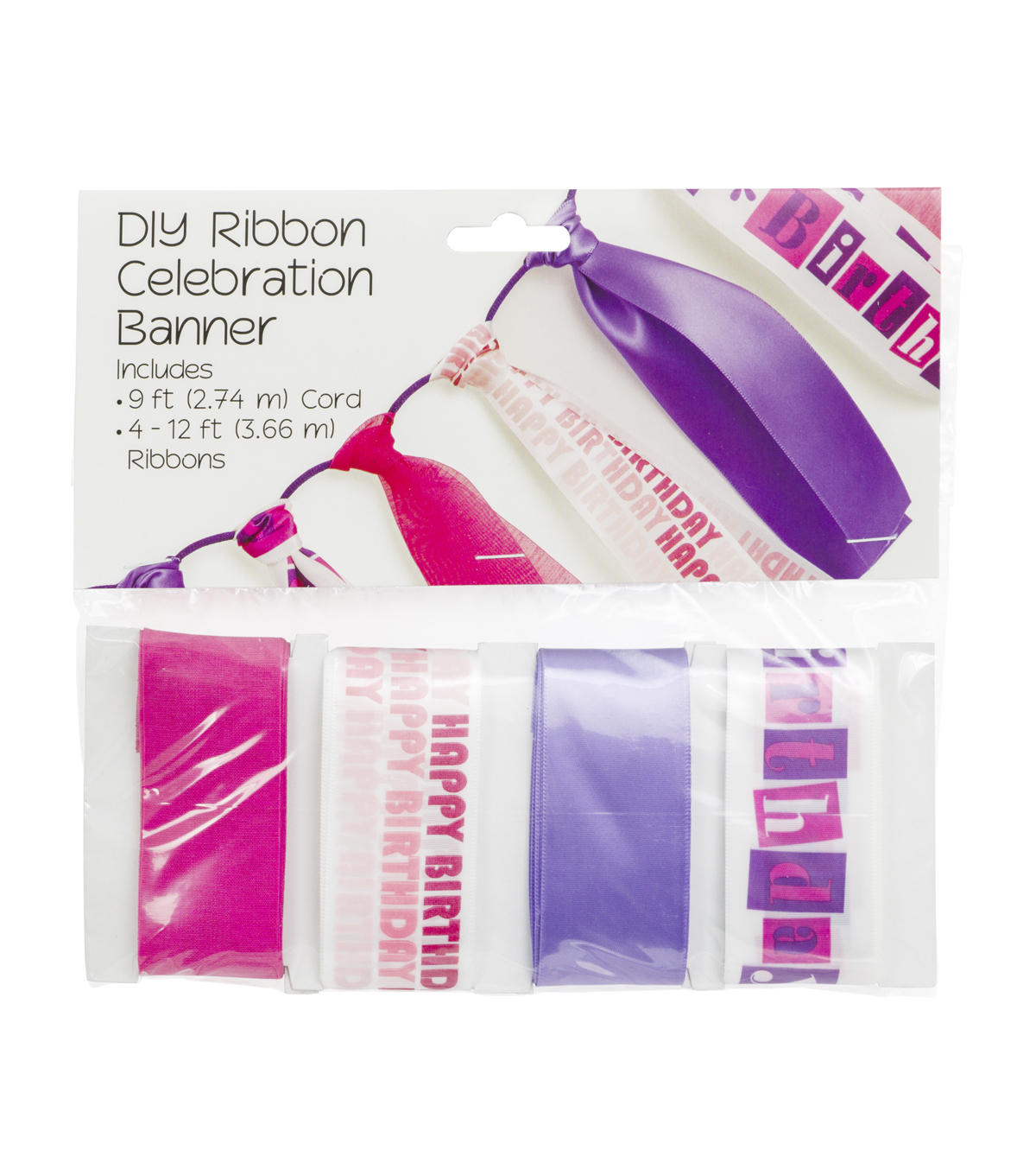 Offray® DIY Ribbon Celebration Banner Kit-Bright Girl Birthday